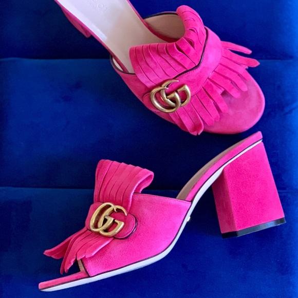 6a302a76abb Gucci Shoes - Gucci Marmont GG Suede Kiltie Slide Heel 39 9